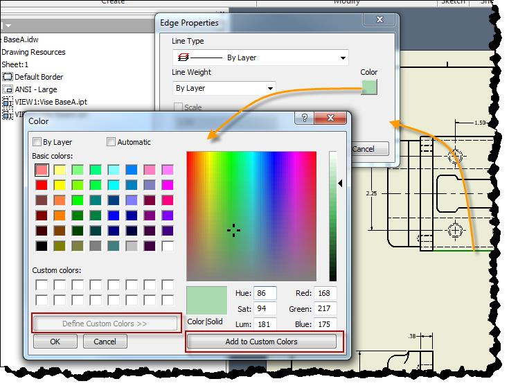 Working With Inventor Drawing Colors Synergis